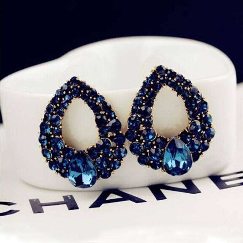 Կլասիկ կապույտ rhinestone շքեղ ականջօղեր - Նորաձև զարդեր