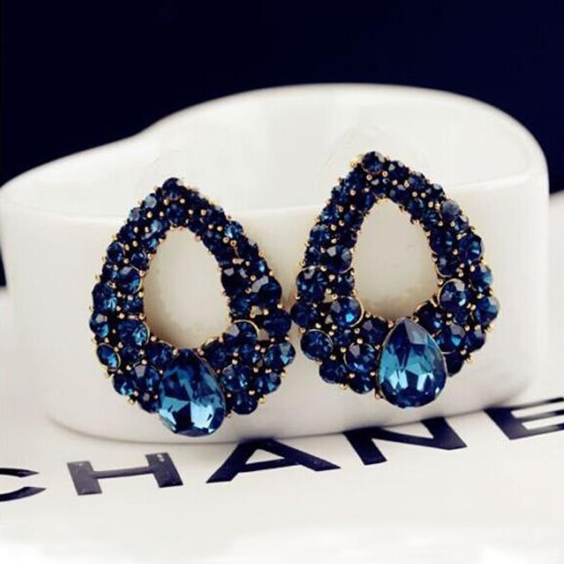 Klassische Blaue Strass Luxus Ohrring Frauen Kleid Party - Modeschmuck - Foto 1