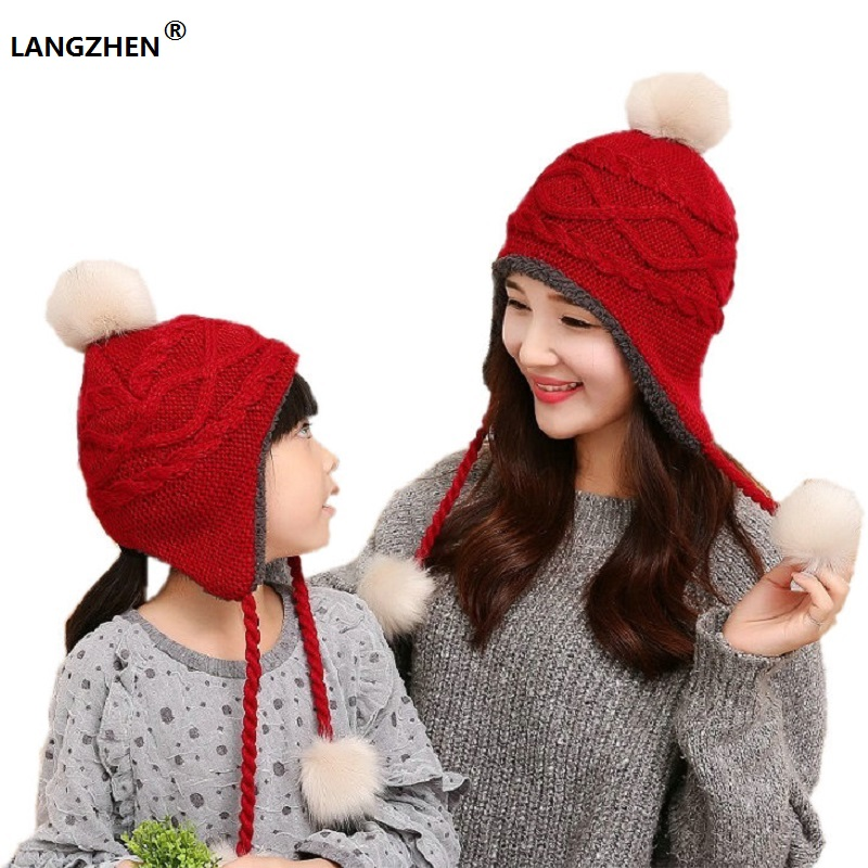 2017 LANGZHEN Brand New Girls Women Hats Parent-child Caps Kids Winter Bonnet Enfant For Children Baby Muts KF043