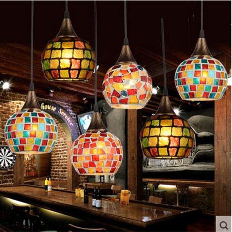 Vintage Tiffany Handmade Colorful Glass Led E27 Pendant Light For Dining Room Restaurant Bar Dia 15/21cm 1554 creative handmade tiffany glass e27 5 pendant light for living room dining room dia 40 50cm vintage tiffany pendant lamps 2105