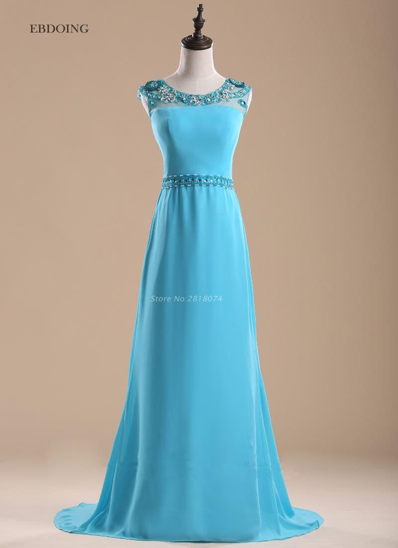 Robe de soiree longue Stunning Sky Blue A-line   Evening     Dress   2017 Vestidos de festa With Beaded Prom   Dresses