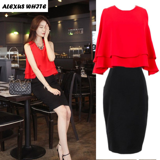 2017 Summer New Women's 2 Piece Sets Sexy Sleeveless Shirts Top + Slim Package Hip Skirts Suit