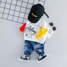 hot deal buy zwxlhh 2019 new style baby boys girls clothing sets infant newbrown cartoon clothes suit children kids shirt jeans casual suit