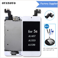 2pcs For iPhone 5S A1457 A1533 A1530 LCD Display Touch for iphone 5s Screen Digitizer Home Button+Front Camera Speaker Assembly