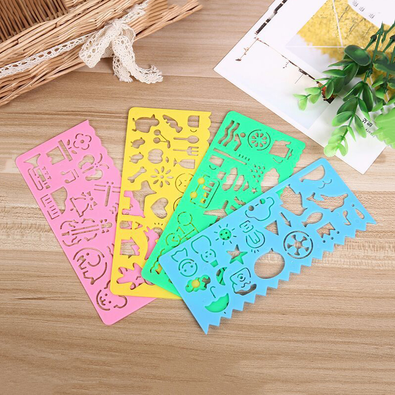 4pcs/lot Different Color Cute Art Graphics Symbols Drawing Template Ruler Student Kids Drafting Stencil Ruler Stationery