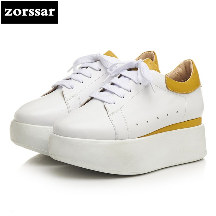 {Zorssar} 2018 Spring NEW Genuine leather female casual shoes ladies Wedges High heels platform pumps Fashion womens shoes 2017 new women s genuine leather pumps female casual shoes sexy lady medium heels fashion high wedges platform flower slip on