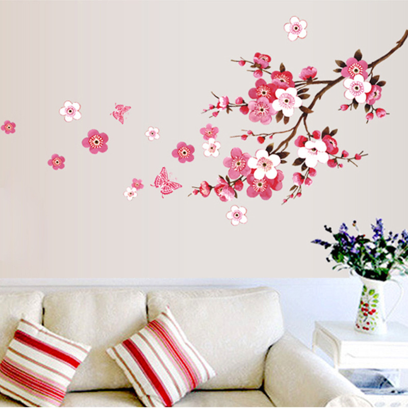 Beautiful Sakura Flowers Wall Stickers Living Bedroom Decorations Diy Home Decals Peel And Stick Plant Mural Arts Posters