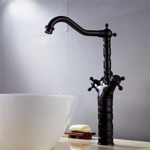 Image 3 - 新スタイルのレトロなホットとコールド蛇口黒くキッチンスイベル真鍮デザイナー蛇口シンク洗面器ミキサータップ B3214