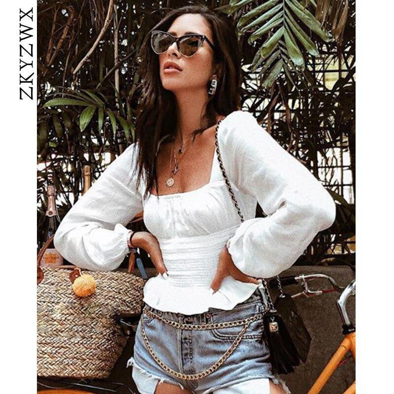 ZKYZWX Puff с длинным рукавом для женщин s Винтаж футболки с манжеткой летние пикантные квадратный средства ухода за кожей шеи Slim Fit Crop Топы корре...