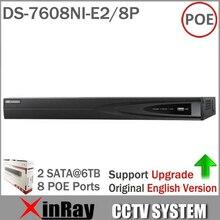 HIKVISION NVR DS-7608NI-E2/8 P 8CH POE NVR pour Caméra IP HD 6 Mégapixels Enregistrement 8 POE 2 SATA Réseau de Sécurité Vidéo enregistreur