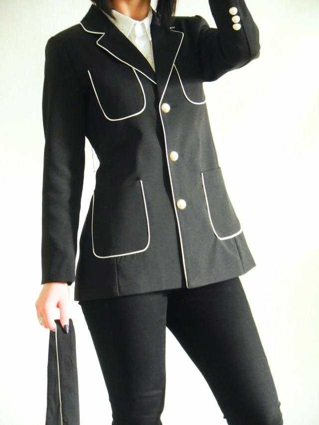 Oficina Alta Chaqueta Negro Dama Mujer A Gama Botón Largo Bolsillo Black Jacket Traje Fasten De Perla q4vFBYS