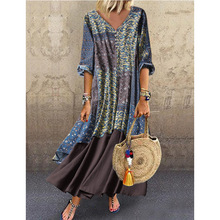 Zogaa 2019 new Explosion Models Dress New Cotton and Linen Printing Mosaic Women Fashion Loose Large Size Womens Clothing