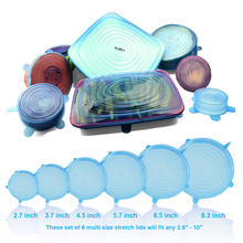 6 Pieces Reusable Silicon stretch lids, Covers (Pack of 6 Pcs)  –  Premium stretch silicone lids- stretch silicone bowl lid