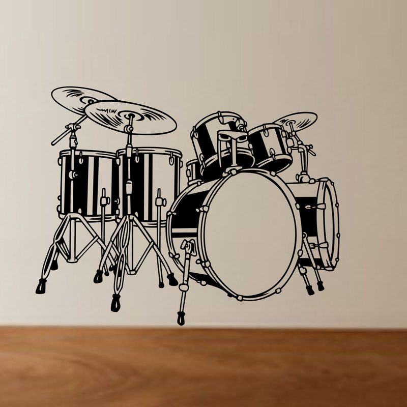Top Selling Drum Set Wall Decals <font><b>Children</b></font> Bedroom Wall Decor Vinyl Removable Adhesive Wall <font><b>Stickers</b></font>