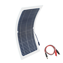Xinpuguang 10W 18V Solar Panel Semi-Flexible Cable Monocrystalline Cells DIY Module DC Connector 12V Charger Kit Outdoor