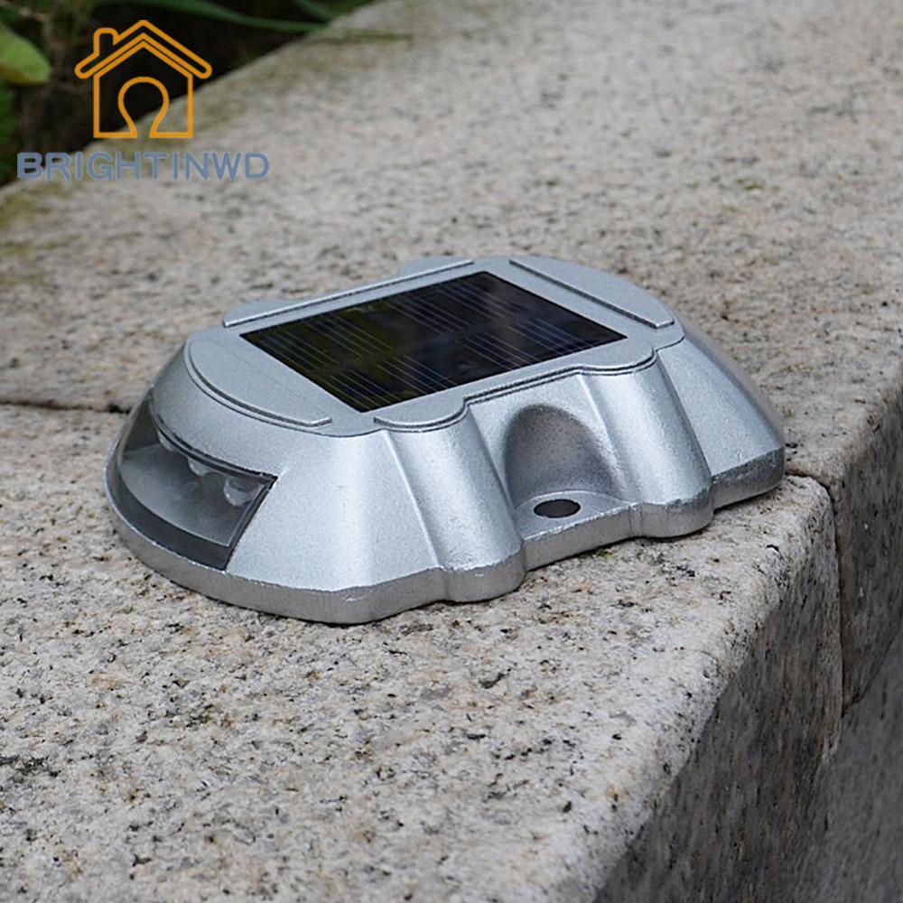 6 LEDs Solar Light Waterproof LED Indicator Pathway Traffic Lamp Double-sided LED Signal Lights Outdoor Garden Lighting Modern