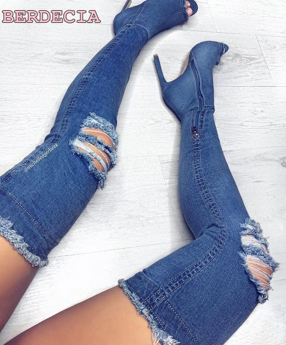 2017 newest blue denim cutout long boots peep toe high heels sexy woman over the knee boots high quality shoes thigh high boots high stretch boots denim over the knee boots shoes woman thigh high boots ripped distressed denim jeans open peep toe heels