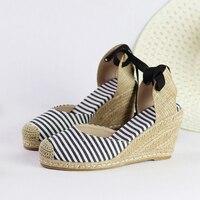 Mid height Women canvas shoes Women wedge sandal shoes for summer fashion platform D'orsay espadrilles shoes