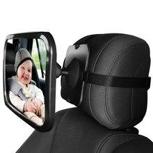 Espejo retrovisor de coche para bebé, asiento trasero para niño pequeño, asiento de coche, correas dobles y ajustables de seguridad, 360