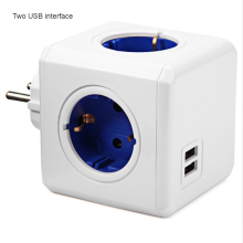 Smart Home Power Cube Socket EU Plug 4 Outlets 2 USB Ports Adapter Power Strip Extension Adapter Multi Switched Socket