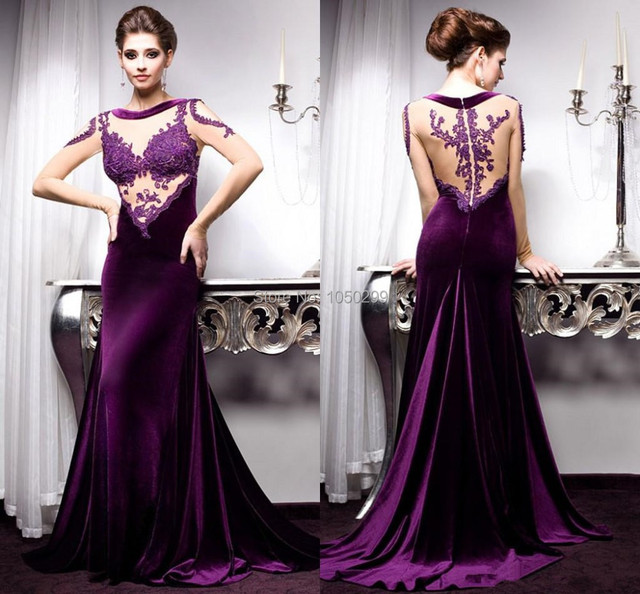Fashionable Long Mermaid Lace Top Royal Purple Velvet Evening Gown ...