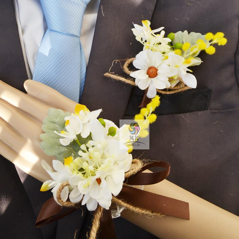 Wedding Flowers Corsage Ideas: Handmade Wedding Supplies Corsage Groom Boutonniere Bride