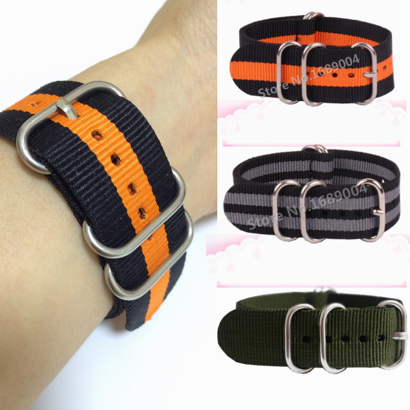 Wholesale Heavy duty nylon straps 18mm 20mm 22mm 24mm Nylon Watch band NATO strap zulu strap watch strap silver ring buckle special offer wholesale 20mm nylon zulu watch band straps black orange black rings