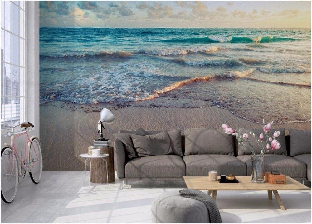 Custom Photo 3d Room Wallpaper Mural Blue Ocean Beach Scenery Landscape  Painting 3d Wall Murals Wallpaper