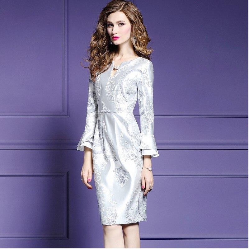 Nouveau La Parti 2018 Genou Mode Jacquard Robes Argent Femmes Crayon Office longueur Élégant Lady Robe Taille Printemps Automne Plus vWxgqIXBaR