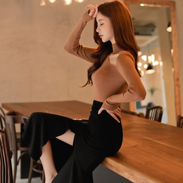 Ensemble 2 pièces femmes costume 2017 automne manches longues évider chemise hauts Blouse et noir volants jupes haut court et jupe Vestidos - 2