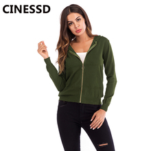 CINESSD Women Hooded Jacket Coat Solid Long Sleeves Cardigan Zipper Knitted Casual Green 2019 Lady Autumn Slim Tops