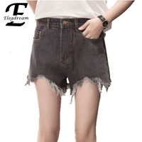 Elegdream 2017 European And American Summer Style High Waist Denim Shorts Women Casual Loose Jeans Shorts