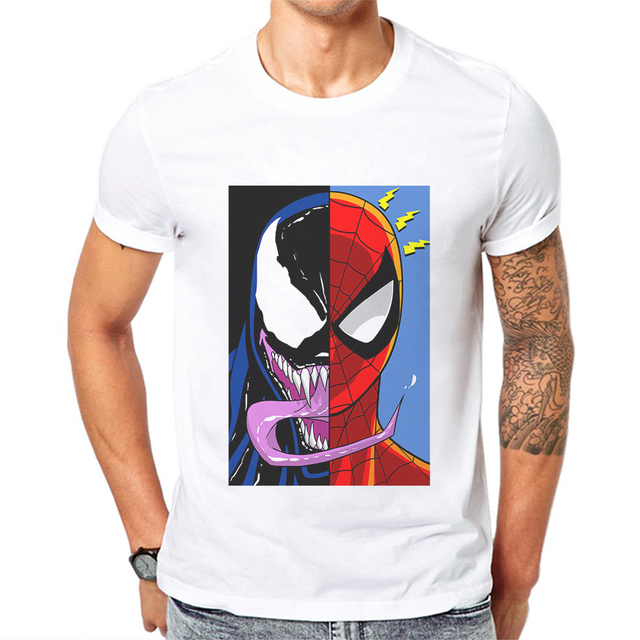 72fe47e080d US $9.83 34% OFF New Arrival Venom And Spiderman Printed Men T Shirt Cotton  Short Sleeve Hipster Tops Mens Tshirts Fashion Casual Cool Tee Shirts-in ...