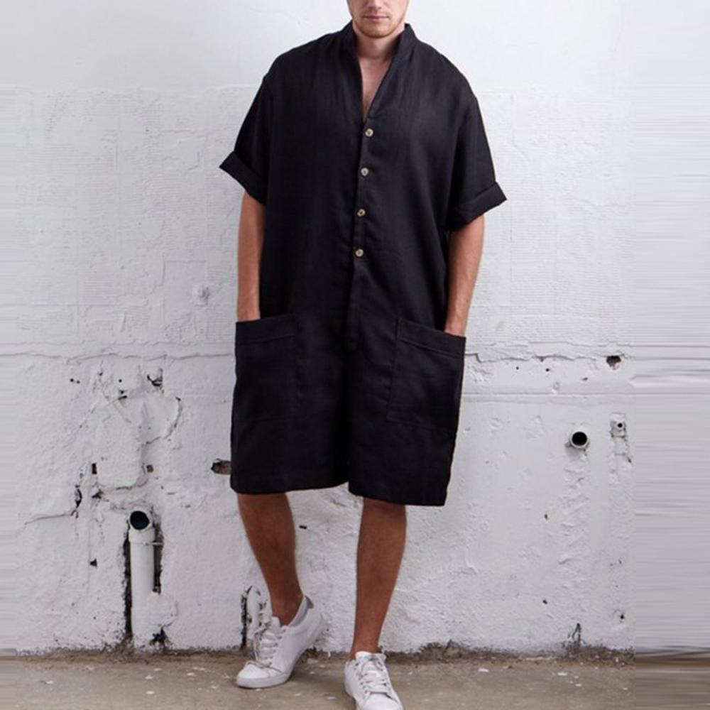 Men's  Rompers Short Sleeve Shirt Men Casual Cargo Pants Men Jumpsuit Overalls Summer Men