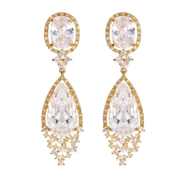 Luxo Branco Banhado A Ouro Brincos de Casamento 6.5 cm de Comprimento com Forma Marquise AAA + Zircon Pedra Brincos Chandelier de Noiva Pesado 10031
