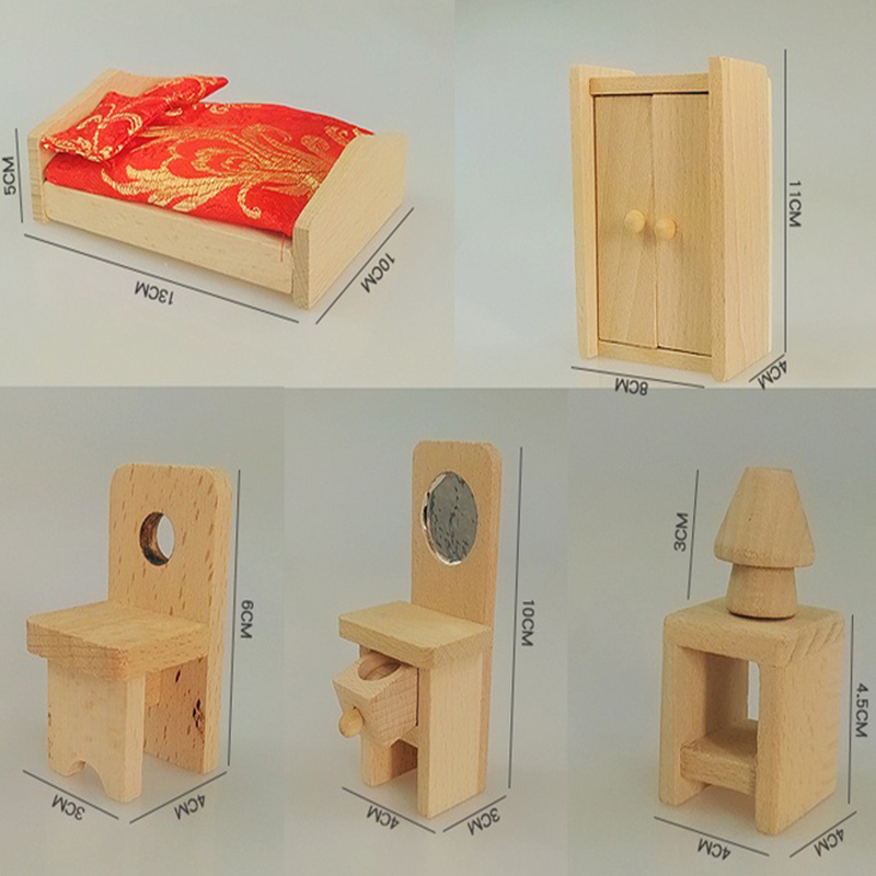 Buy Wooden Doll Bedroom Furniture Kids Play Toy Design Wooden Dollhouse