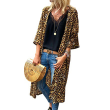 hot deal buy 2018 plus size chic and american style long woman trench classical leopard open stitch wide-waist leopard long female coat