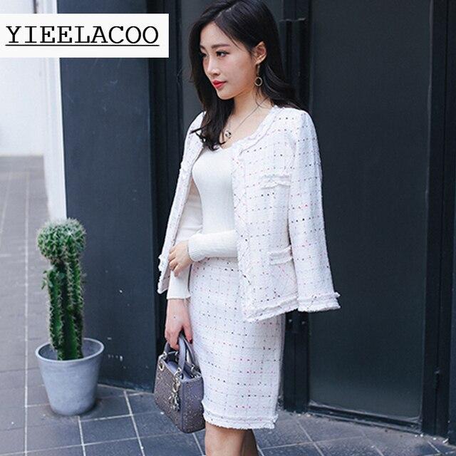 8339779aa50a Blanc tweed veste + jupe costume 2019 printemps automne femmes veste  nouvelle mince dames de