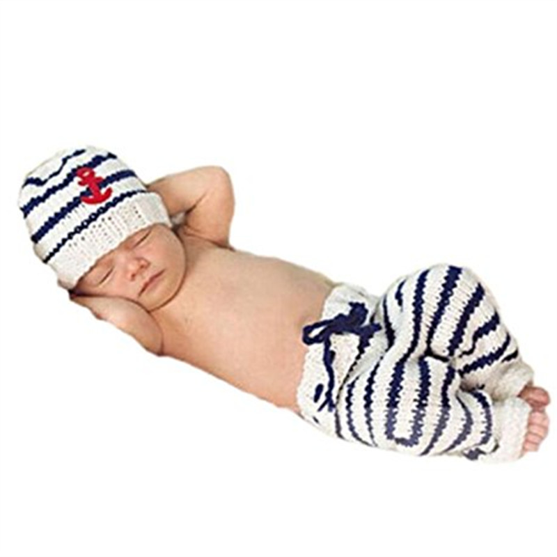 Newborn Baby Photography Props Crochet Sailor Navy Stripe Anchor Hat Pants 2pcs Outfit Photo Shoot Baby Shower Gift newborn crochet baby fox orange costume photography props knitting baby hat bow infant baby photo props