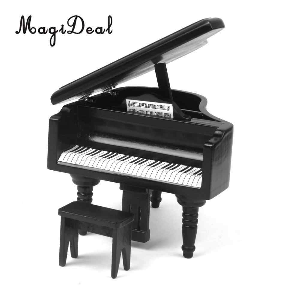 MagiDeal 1/12 Dollhouse Miniature Wooden Piano with Stool Musical Instrument Model for Doll Acc Home Decor Children Toy Gift