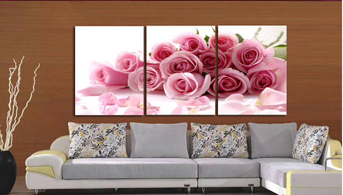 3 Piece Pink Rose Home Decorative Canvas Painting Living Room Paint ...
