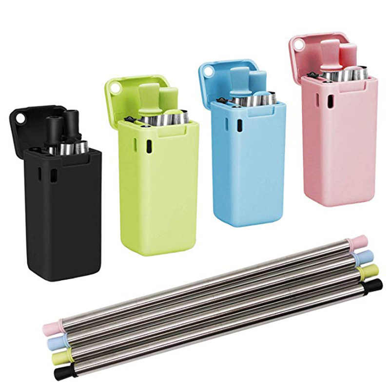 Foldable Drinking Straw Collapsible Reusable Straw With Case Brush Travel Outdoor Portable Household Home Kitchen Bar Accessorie