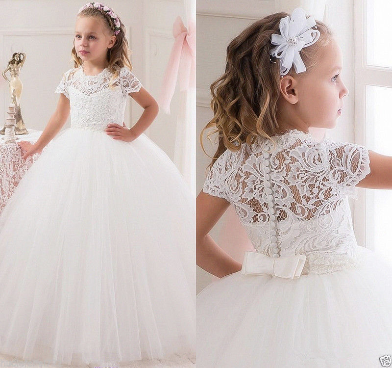 Puffy ball gown tulle White/ivory sheer lace flower girl dress kids holy the first communion gown with short sleeves for wedding new white ivory flower girl dresses for wedding 3d flowers puffy tulle with big bow girls first communion gowns