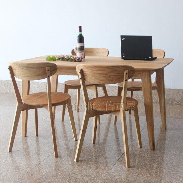 Madera japonesa mesa de comedor y cuatro sillas blanco for Mesas y sillas para comedor pequeno
