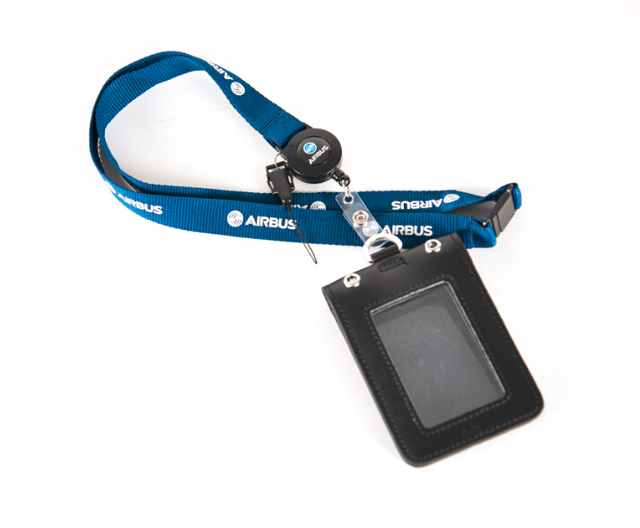 e0e1f2856b9 Airbus Blue Lanyard with Genuine Leather ID Case Holder for Pliot Flight  Crew Airman Office Personality