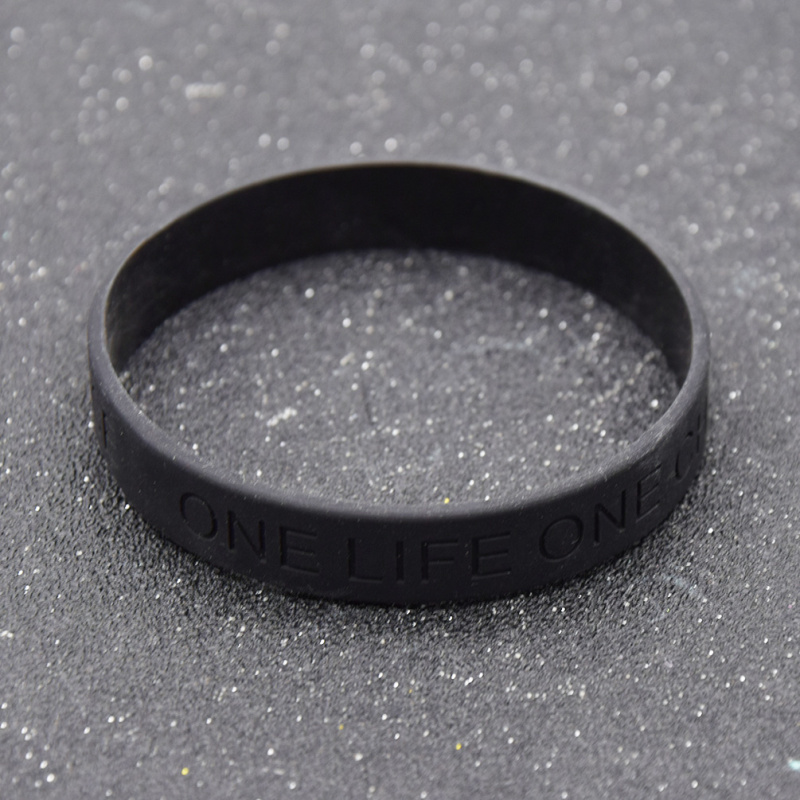 Fashion Lychee Black Silicone Bracelet Bangle One Life One