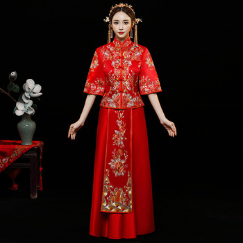 Red Fashion Noble Retro Chinese Women Bride cheongsam Dress Long Wedding Qipao Delicate Embroidery Phoenix cheongsam Size S-XXL
