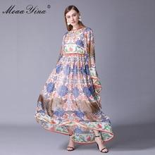 MoaaYina High Quality Fashion Designer Runway Dress Summer Women Batwing Sleeve Vintage Print Casual Holiday Bohemia Maxi