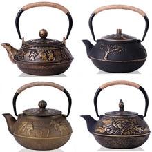 Neue Japanische Gusseisen Teekanne Unbeschichtete Kung Fu Teekanne mit Filter Handgemalte Wasserkocher Tetera De Hierro Fundido Drink 6 stil