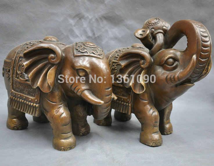 """Wby 00309 10 """"الصين النحاس الأرضية الحيوان الفيل روي تمثال برونز الملك الغابات زوج (A0414)"""